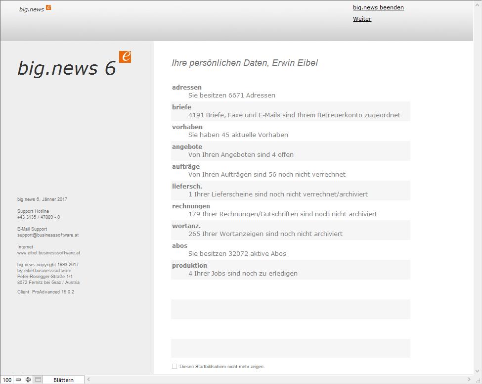 Screenshot big.news Startmenü